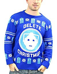 Doctor Who Christmas Jumper Cyberman Delete Nue Blau unisex offiziell