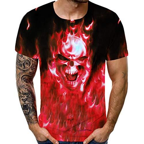 Fenverk SchäDel Print Schmale Passform T Shirts 3D Druckmuster T-Shirt Herren MäNner Kurzarm Shirt Optimal FüR Fitnessstudio Gym & Training - Slim-Fit Rundhals(rot,XL)