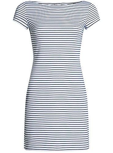 oodji Ultra Damen Enges Jersey-Kleid Weiß (1079S)