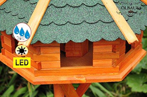 Vogelhaus-Futterhaus Massivholz,BTV PREMIUM Vogelhäuser, XXL ca. 70-75 cm, wetterfest Massivdach, mit Ständer Standfuß und Silo,Futtersilo für Winterfütterung mit Beleuchtung,Licht-LED -Holz Nistkästen & Vogelhäuser- aus Holz mit Ständer BGXL75grMS Vogel + Vogelhaus-Futterhaus Massivholz GRÜN - 4