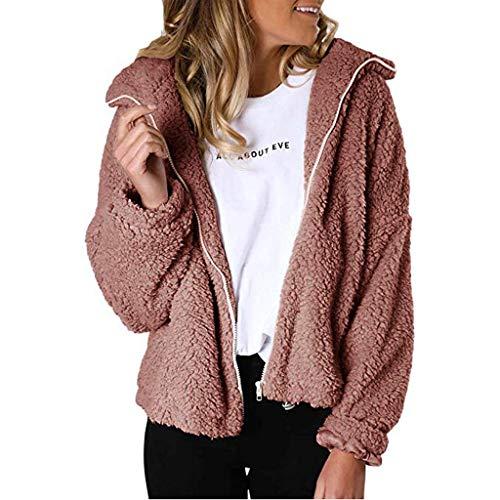 LILIHOT Damen Zip Kunstpelz Jacken Langarm Fleece Fuzzy Revers Flutty Winter Outwear Mantel Winter Warme Mantel Outwear Frauen Sherpa Sweatshirt Fleece Pullover Warmer -
