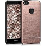 Alu Hülle für Huawei P10 Lite - kwmobile Aluminium TPU Silikon Schutzhülle Smartphone Cover Case in Rosegold - Handy Backcover