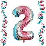 Siumir Palloncino Foil Numero Palloncino 40 Pollici Gigante Palloncini Digitali Decorazione Festa di Compleanno Numero 2
