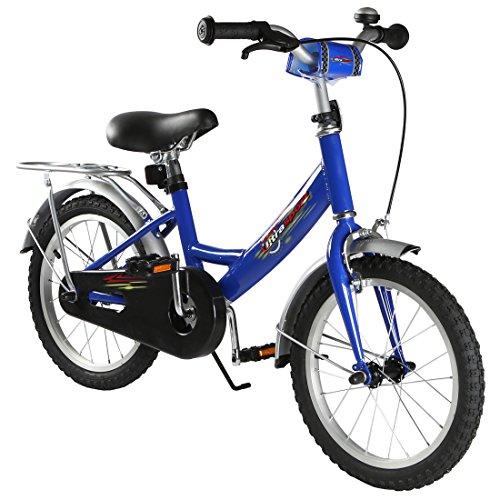 Ultrasport Kinderfahrrad 16 Zoll, blaues Fahrrad für Jungen ab 4,5 Jahre (ca. 100 cm Körpergröße), ein 16 Zoll Kinderrad mit Rücktrittbremse -