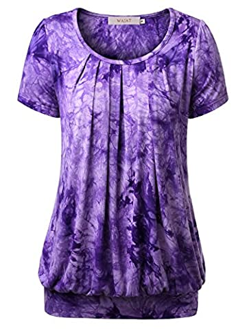WAJAT Women's Round Neck Short Sleeve Tunic Blouse Pleated Front Tie Dye Casual T-Shirt Tops Purple L