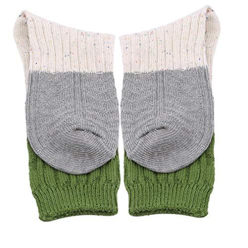 Hengxing Frauen Chenille Tricolor Socken Color Block Crew Socken, Grüne Socke (Chenille-socken Für Frauen)