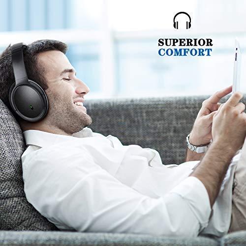 KAMTRON Bluetooth Kopfhörer Noise Cancelling Kabellos - HiFi Stereo Bass Over Ear Headset mit Mikrofon, 26-Stunden-Wiedergabezeit, Flugzeugadapter, faltbar für Reisen und Arbeiten, PC/Handy / TV - 3
