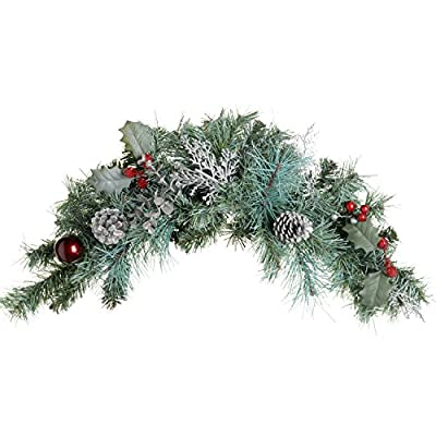 60 cm Decorated Frosted Swag Arch Garland with Cones and Berries