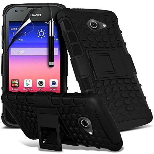 Black - Huawei Honor Holly Zweischichtige starke, stoßfeste Hülle in Superqualität mit Bildschirmschutz & versenkbarem Eingabestift (stoßfest – Hülle – hart – Schutz – robust) von Gadget Giant®