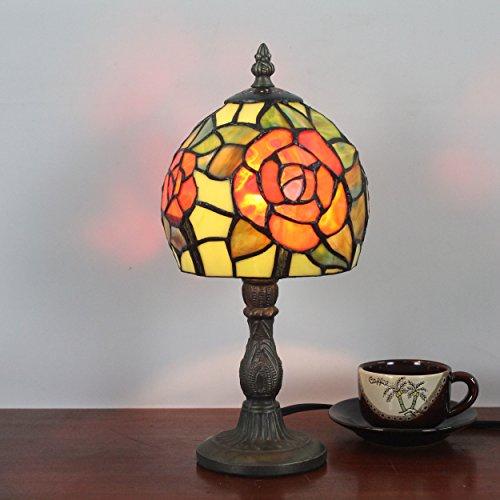 SINCERE@ 6 pouces Orange Rose Pastoral Retro Antique Tiffany Table Lamp Lampe de chevet