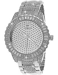 Edle XXL designer Strass Damenuhr Damen Armband Uhr in Silber inkl.Uhrenbox