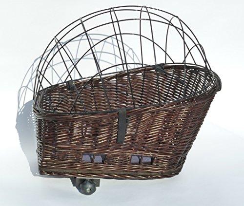 Tigana - Hundefahrradkorb für Gepäckträger aus Weide 56 x 36 cm mit Metallgitter Tierkorb Hinterradkorb Hundekorb für Fahrrad + Kissen in BRAUN -