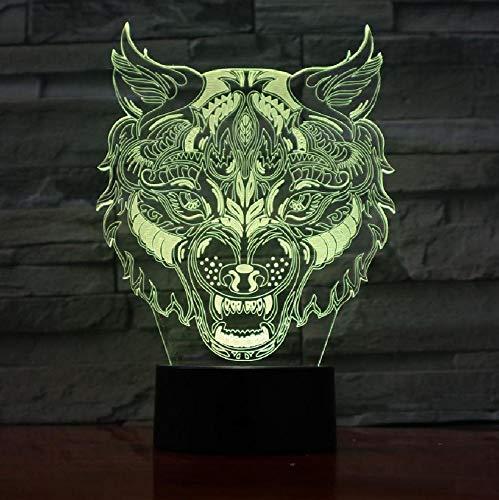 Wolf leopard kopf gesicht design touch tischlampe 7 farben ändern schreibtischlampe 3d lampe neuheit led nachtlichter usb licht -