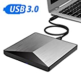 Externes DVD Laufwerk,OUDEKAY USB3.0 DVD-RW DVD/CD Brenner Slim extern Laufwerk Portable DVD CD Brenner für Laptop/Notebook/MacBook/Desktop unterstützt Windows 98SE/ME/2000/XP/Win 7/Win 8/Win 10/ Mac OS–Silber