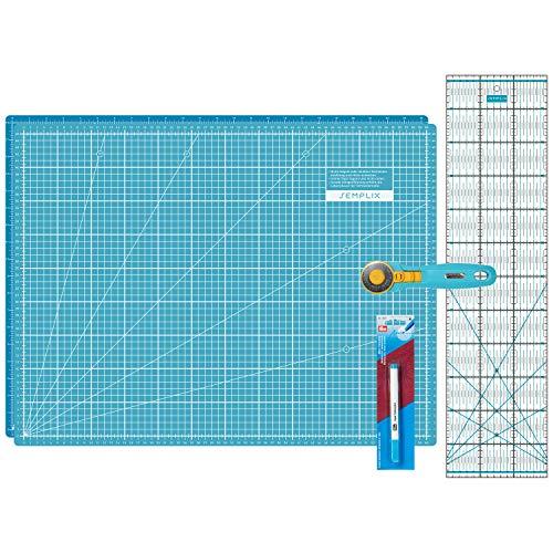 SEMPLIX Schneidematten Set - Schneideunterlage 60 x 45 cm (A2), Rollschneider Maxi, Patchwork Lineal + PRYM Aqua-Trickmarker (türkis/Petrol) -