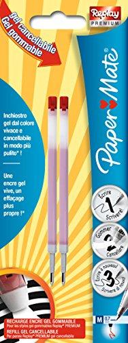Paper mate replay premium refills per penne gel cancellabili, punta media da 0,7 mm, rosso, confezione da 2