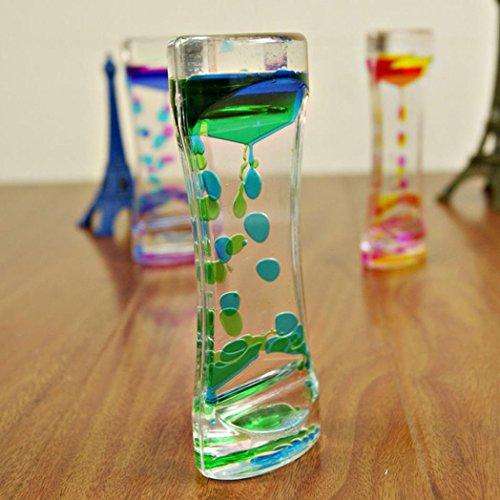 ZHOUBA Gotas de aceite de doble color para gotas de hora, líquido flotante con burbujas, temporizador, decoración de escritorio, vidrio, Verde, talla única