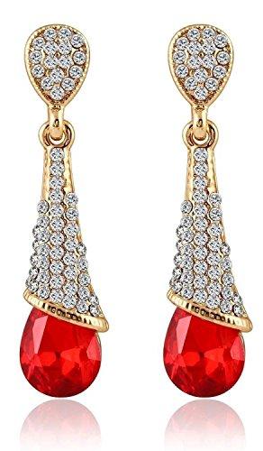 YouBella Fashion Jewellery Summer Special Crystal Hoops Stylish Fancy Party Wear Earrings for Girls and Women (Dark-Blue)