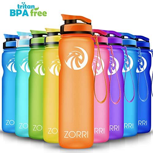 ZORRI Sport Trinkflasche auslaufsicher, BPA Frei & Umweltfreundlich Wasserflasche Für Kinder & Frauen, One Handed Open & Tritan, Für Gym/Outdoor/Camping - Orange - 1000ml