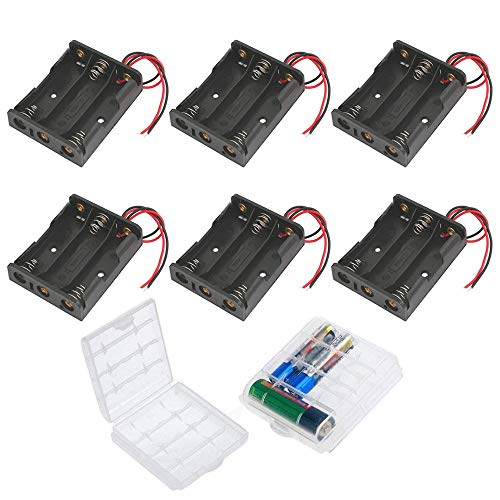 GTIWUNG 6 Stück AA Batteriehalter Gehäuse Kunststoff Akku Aufbewahrungsbox, Batteriehalter für 3 x 1,5V AA Batterie Halterung 4,5V mit Anschlusskabel (3 Solts)