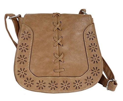 Handtasche - Umhängetasche - Trachtentasche fürs Dirndl - gestanztes Muster - weiches Lederimitat (Beige)