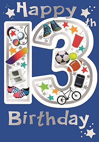 Videospiel-geburtstags-karte (784C Glückwunschkarte zum 13. Geburtstag für Jungen, Videospiel, 19x13cm, englischer Text)