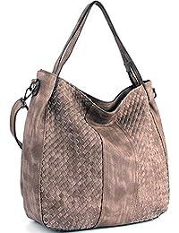 CASELAND Damen Handtaschen Cross-body Schultertaschen Umhängetaschen Hobo Henkeltaschen PU Leder Große Weave Taschen (L:45cm * H:35cm * W:13cm)