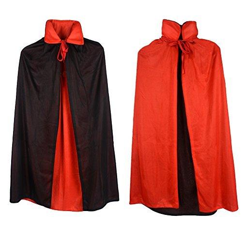 Custome Black Red Reversible Dress Goth Devil Pirate Vampire Demon 35 Cloak For Halloween Party Christmas Children Kids by Gardeningwill