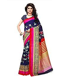 Fabwomen Sarees Floral Print Blue And Pink Coloured Cotton Silk Fashion Casual Wear Women's Saree/Sari.
