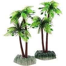 Jardin artificial de plástico 2-Piece planta del árbol de coco para el acuario,