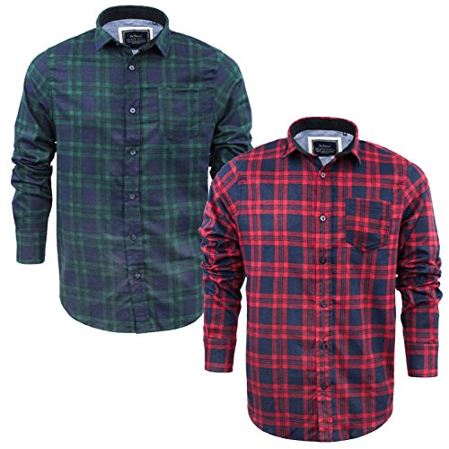 Mens Check Shirt Brave Soul Tame Flannel Brushed Cotton Long Sleeve Casual Top