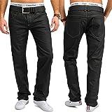 Jeans Hommes | (Regular Fit) pantalon de loisirs élégant foncé pur coton ciré, enduit | H1657 de Jaylvis