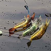 everpert 6G 3pcs Luminoso Suave Señuelos Artificiales Camarón Cebos de pesca ganchos