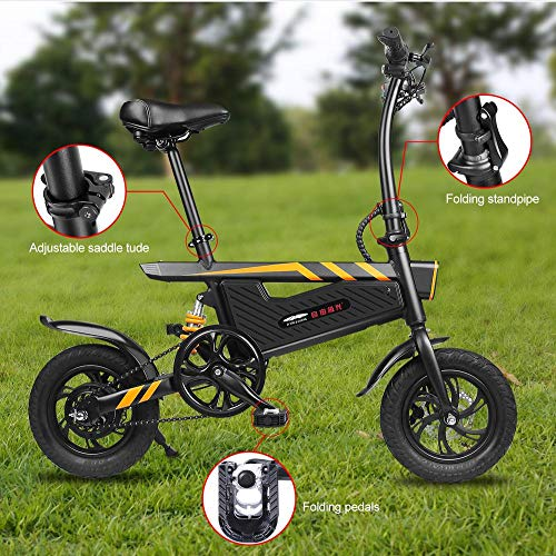Maliyaw Bici Plegable de la Aurora Libre Negra de la Bicicleta eléctrica, Motor Fuerte del Marco 250W de la aleación...