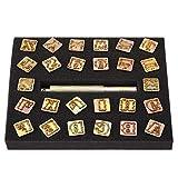 Alphabet Punsch Stempel, 13mm Metall Stempel Punch Set Vintage Design Alphabet 26 Buchstaben sterben Werkzeug Handwerk für DIY handgefertigte Kunst arbeiten