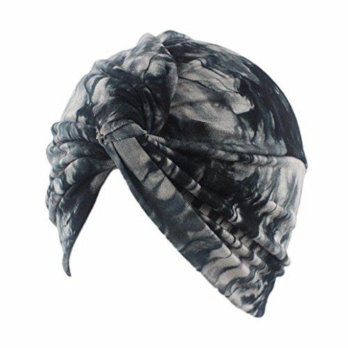 URSING Frauen Muslimische Kopftuch Indische Turban-Hüte Turbanmütze Kopfbedeckung Schlafmütze Sommerturban Sommermütze Stoffhaube Damenturban für Haarverlust, Chemo, Krebs Cap Chemotherapie (Schwarz) (Stoffhaube)