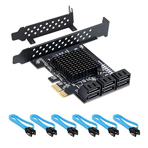 QNINE PCIe SATA Karte 6 Port mit 6 SATA Kabeln, 6 Gbit/s SATA Controller PCI Express Karte mit Low Profile Halterung, Boot als Systemfestplatte, Unterstützung von 6 SATA 3.0 Geräten