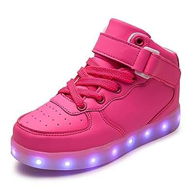 DoGeek -LED Basket Lumineuse Enfants Garçon Fille -Securité Mode Haut Dessus 7 Couleurs Clignotants -USB Rechargeable (25 EU, Rose2)