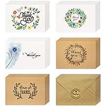 Meetory Lot De 40 Cartes Remerciement Vierge A Linterieur Avec Enveloppes Et Stickers