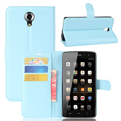 GARITANE Homtom HT7 Hülle Case Brieftasche mit Kartenfächer Handyhülle Schutzhülle Lederhülle Standerfunktion Magnet für Homtom HT7 (Blau)