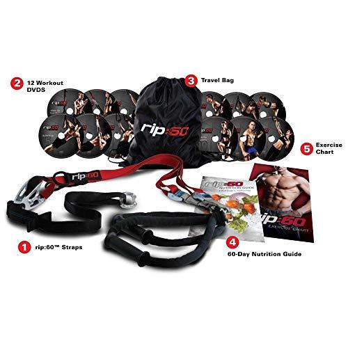 RIP 60 Schlingentrainer Sling Trainer Bodyweight Fitness Resistance Straps Trainer 12 DVDs, Übungsposter, Übungsdiagramm und Ernährungshandbuch