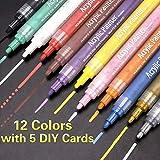 SUPERSUN Marqueur Peinture Acrylique, 12 Couleurs Peintures Acryliques pour Bois, DIY, Dessin, Tissu, Verre, carte de Noël
