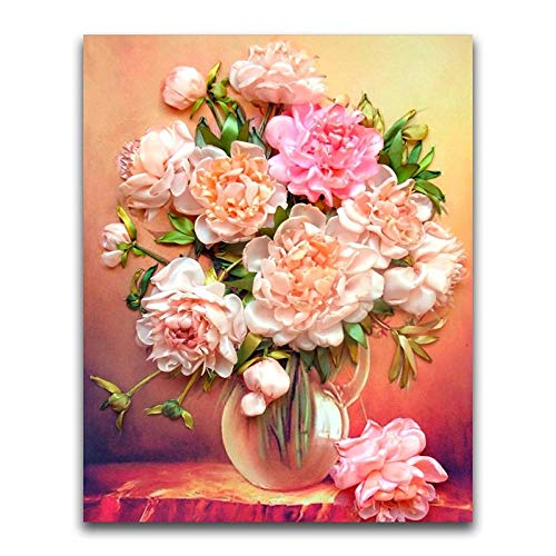 C.LLIFE DIY 5D Diamant Malerei Blume Voller Runder Diamant Mosaik Pfingstrose Stickerei Kreuzstich Vase, 40X50cm Crystal Square Vase