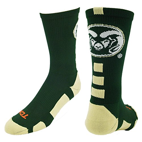 TCK CSU Rams Baseline Crew Socken, Jungen damen Mädchen Herren, Dark Green/Vegas Gold/White -