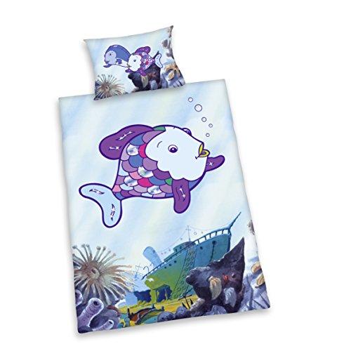 (Herding 243948063412 Bettwäsche Regenbogenfisch, Kopfkissenbezug 40 x 60 cm und Bettbezug 100 x 135 cm, 100% Baumwolle, Renforce, mit Glitzerdruck)