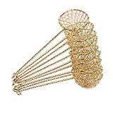 10x Fondue-Sieb Ø 6cm L 23cm, goldfarben, Sieblöffel für Feuertopf, Mongolentopf + ein kleines Glückspüppchen - Holzpüppchen