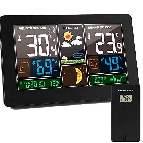 ALLOMN Estación Meteorológica Inalámbrica, 12/24H/Termómetro Exterior para Interiores Higrómetro/Calendario/Fase...