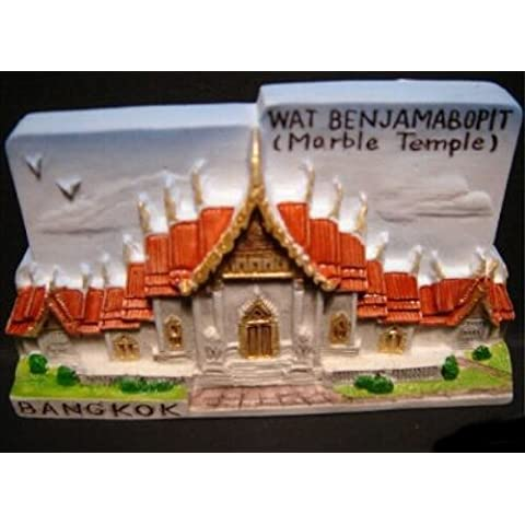 Templo de mármol Wat Benjamabopit Tailandia recuerdo 3D imán tailandés manualidades hecha a mano