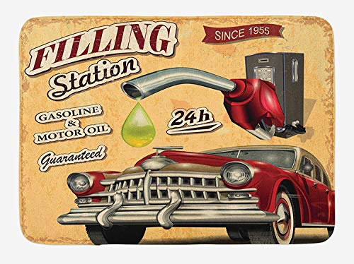 OQUYCZ Cars Bath Mat, Filling Station Gasoline and Oil Drawing with a Realistic Car Design Art Print, Plush Bathroom Decor Mat with Non Slip Backing, 23.6 W X 15.7 W Inches, Sand Brown Red -
