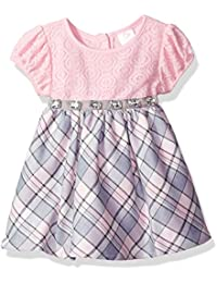 Youngland Baby Girls Lace Bodice Sparkle Plaid Dress